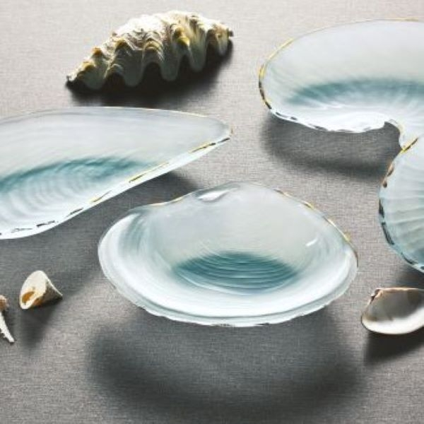 FROSTED GLASS BOWL CLAM SHELL GOLD TRIM