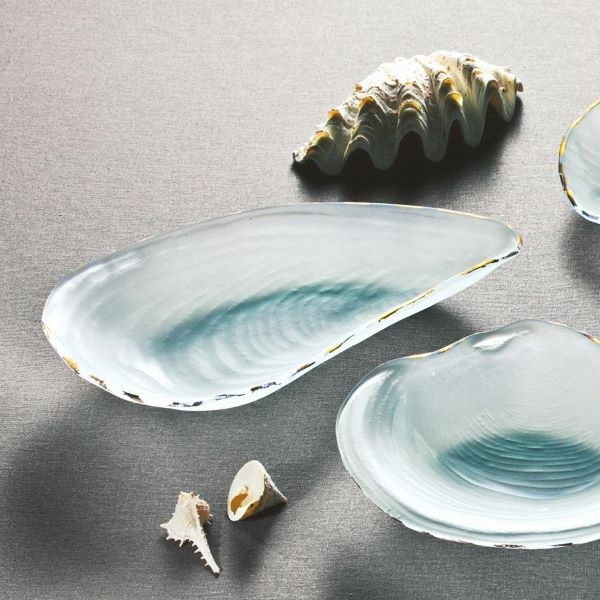 FROSTED GLASS BOWL OYSTER SHELL GOLD TRIM