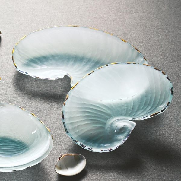 FROSTED GLASS BOWL NAUTILUS GOLD TRIM MEDIUM