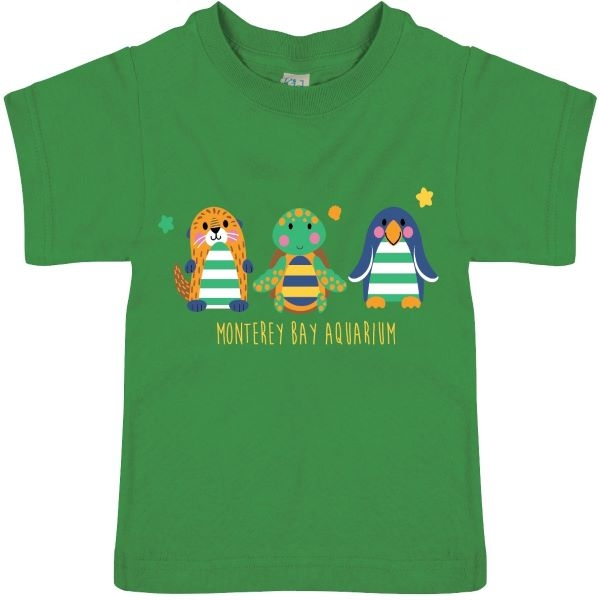 INFANT SHORT SLEEVE TEE SEA CRITTERS KELLY GREEN
