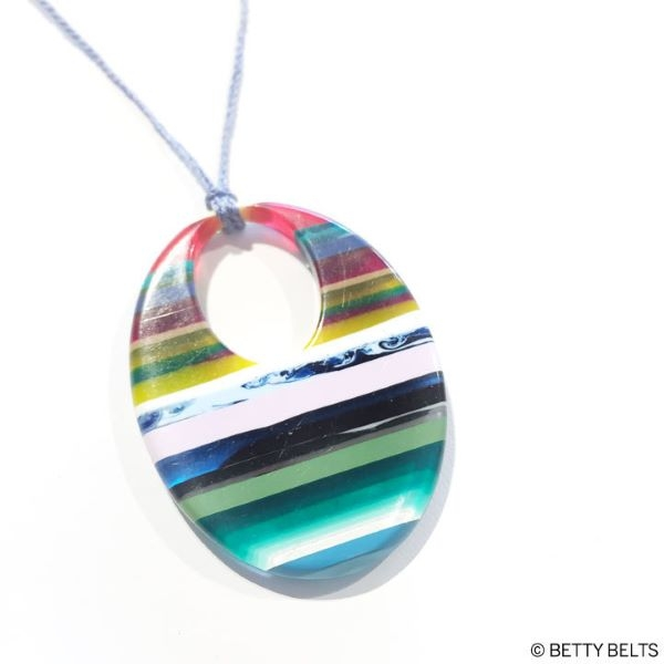NECKLACE SURFITE WIDE ORB ON CORD