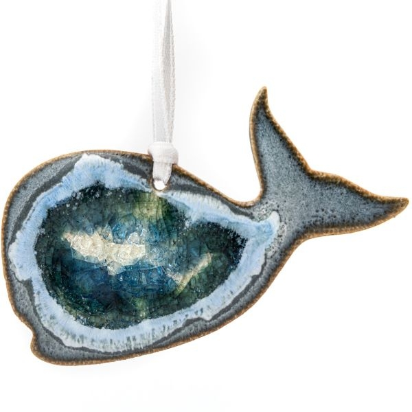 CERAMIC WHALE ORNAMENT WITH GEODE STYLE FUSED GLASS