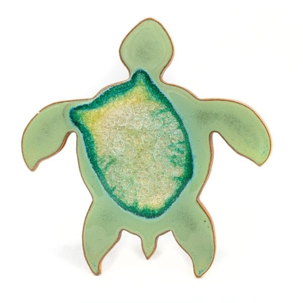 CERAMIC SEA TURTLE MAGNET WITH GEODE STYLE FUSED GLASS