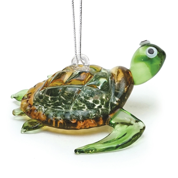GLASS ORNAMENT SEA TURTLE