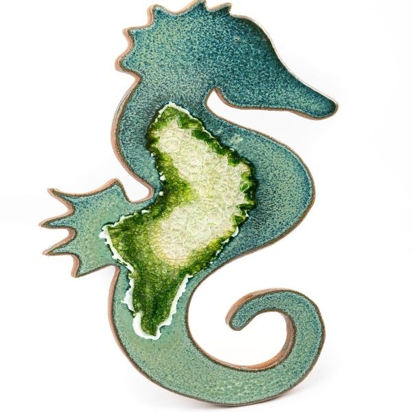 CERAMIC SEA HORSE MAGNET WITH GEODE STYLE FUSED GLASS