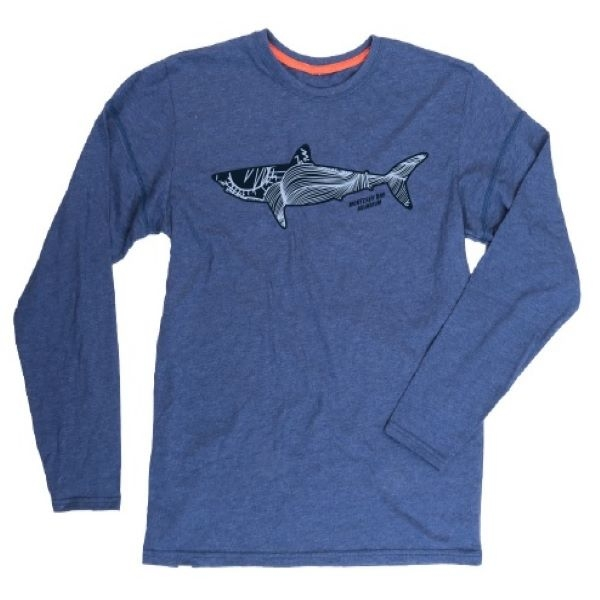 ADULT LONG SLEEVE TEE SHARK GRAPHIC NAVY