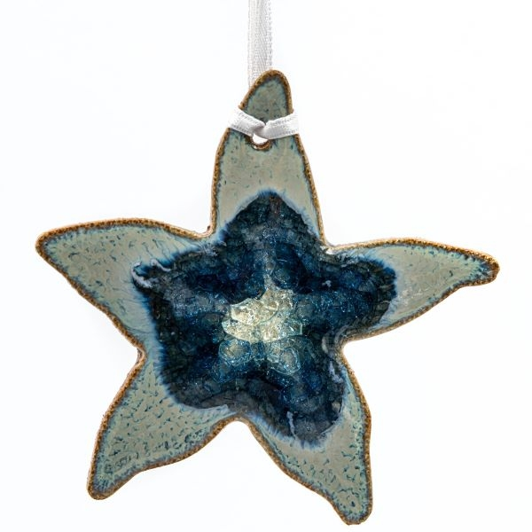 CERAMIC SEA STAR ORNAMENT WITH GEODE STYLE FUSED GLASS