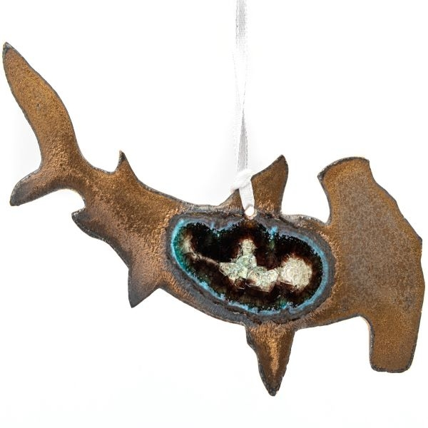 CERAMIC SHARK ORNAMENT WITH GEODE STYLE FUSED GLASS