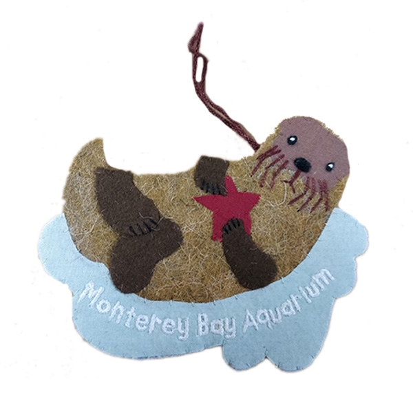 RECYCLED WOOL ORNAMENT SEA OTTER